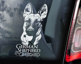 German Shepherd on Board - Car Window Sticker - Security Alsatian K9 Dog Sign Decal -V04