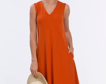 V-neck Dress Orange - Nicole Dress