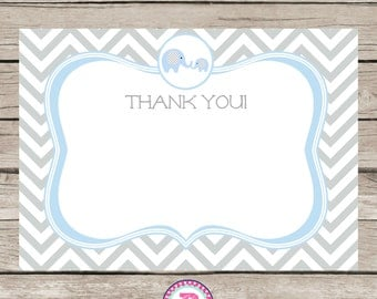 Elephant Baby Shower Thank You Cards 5x7 Light blue gray Chevron Instant Download
