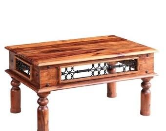 Jali medium rectangular coffee table - Jaipur Indian style - Sheesham wood