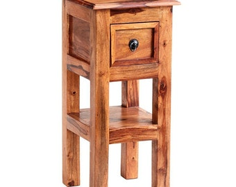 Jali sheesham wooden side/ lamp table - Iron fittings