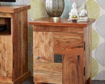 Handcrafted real slate insert 1 door bedside cabinet - Made in India