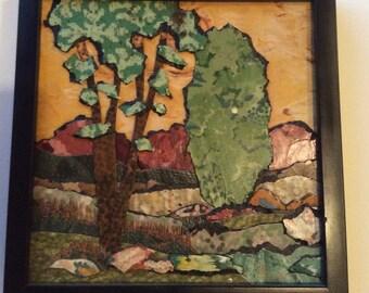 Linoleum Landscape Painting 3D Vintage