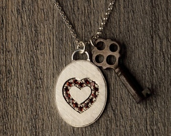 Key to Your Heart - Garnets - Hand Engraved - Sterling Silver Pendant - Traditional Pave