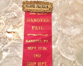 1912 Red + Gold Prize Ribbon