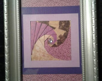 "Handcrafted 5"" x 7"" framed Paper Art"