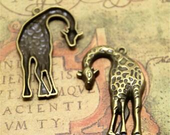 4pcs Giraffe Charms bronze tone Animal Charm Pendants 28x42mm ASD2220