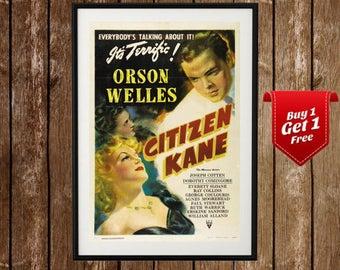 Citizen Kane Vintage Movie Poster, Orson Welles, Citizen Kane Print, Citizen Kane Film, Xanadu, Old Hollywood, William Randolph Hearst