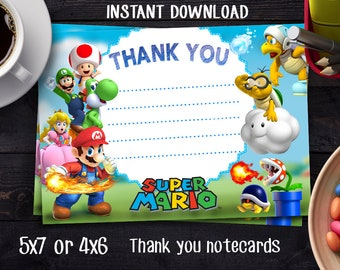 SUPER MARIO BROTHERS Nintendo Thank You Note Instant download, Super Mario Brother Invitation,Super Mario Brothers Birthday