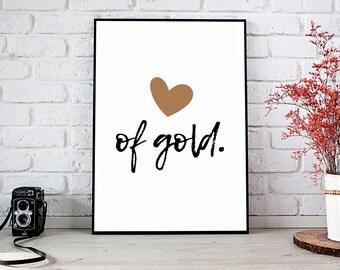Heart Of Gold, Girlfriend Gift,Boyfriend Gift,Trending,Art Prints,Instant Download,Printable Art,Wall Art Prints,Digital Prints,Best Selling