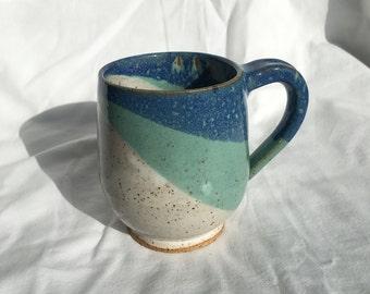 Color Blocked Blue/White Mug
