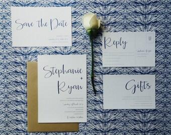 Navy Wedding Invitation and RSVP - Simple Modern Wedding Invitation - Rustic Wedding Invite - Simple Modern Wedding Stationery