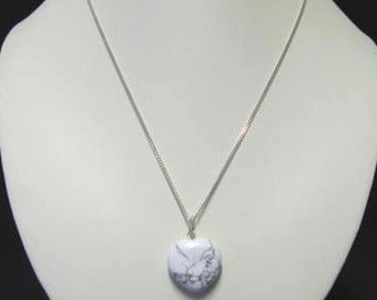 Howlite heart-shaped pendant