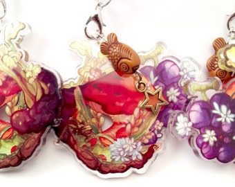 "Fantasy Food Mushroom Flowers Nature themed keychain charm 2"" double sided sturdy transparent acrylic with fake wooden fish and bronze star"