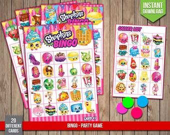 SHOPKINS Bingo - Party Game, Shopkins Birthday Party Games, Shoppies Printable Bingo Cards - Digital PDF Files, Instant Download
