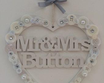 Personalised Wedding Hanging Heart
