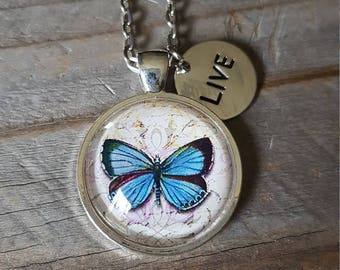 Blue Butterfly Pendant Necklace - Butterfly Necklace - Spring Fashion Summer Fashion - Gift for Her