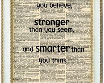 Winnie the pooh book quote print. Winnie the pooh print. Motivational quote. Inspirational quote. Vintage print.