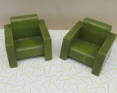 Vintage 1950s Apple Green Wooden Dolls House Furniture  Two Armchairs