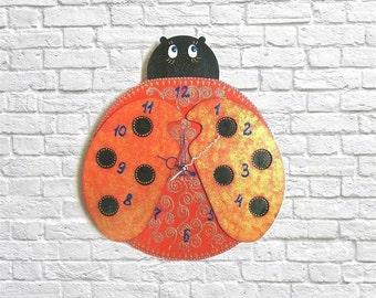 Ladybug Clock Kids Room Children S Decor Unique Wall Clock Nursery Kitchen Room