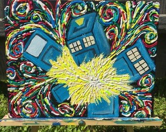 Exploding Tardis painting, doctor who gift, tardis art, dr who, doctor who painting, Van Gogh tardis, doctor who wall art, whovian gift
