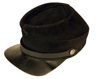 Original United Hatters Cap, Millinery Works Small Cap, Antique 30s, Black Genuine Leather, Suede Hat, Civil War Style Kepi Hat, Size S Hat
