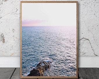 Coastal Print - Ocean Print, Digital Download, Sea Wall Art, Scandinavian Print, Beach Decor, Sunset Photo, Modern Boho Wall Art, Nordic Art