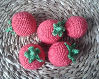 1 Pcs - Crochet tomato, crocheted vegetables, smart toys, play food, kitchen decoration, eco-friendly toys, Handmade toy, play food