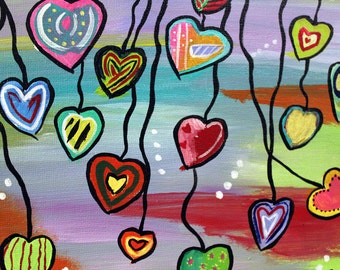 Acrylic paint / Little colorful hearts