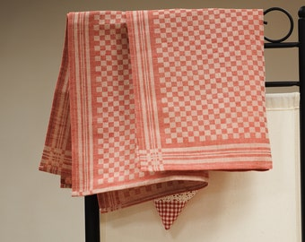 Jacquard linen kitchen tea towel / red squares