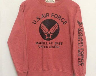 US AIR FORCE Sweatshirt Big Logo Spell Out Nice Design/Medium