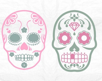 Sugar Skull SVG Clipart Cut Files Silhouette Cameo Svg for Cricut and Vinyl File cutting Digital cuts file DXF Png Pdf Eps