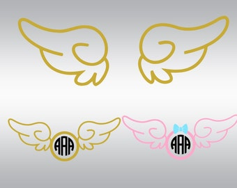 Angel wings svg, Wings svg, Angel wings clipart, Angel svg, Wings monogram svg, Heaven svg, Cricut, Cameo, Clipart, Svg, DXF, Png, Pdf, Eps