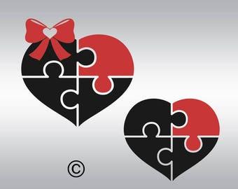 Autism awareness svg, Autism svg, Autism Heart puzzle svg, Heart svg, SVG Files, Cricut, Cameo, Cut file, Files, Clipart, Svg, DXF, Png, Eps