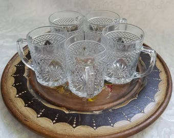 Set of 5 vintage clear glass mugs