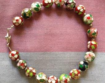 Vintage cloisonné bead bracelet