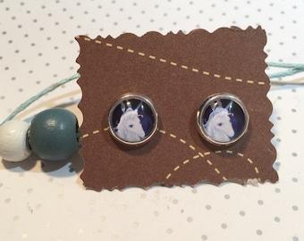 Unicorn earrings cabochon