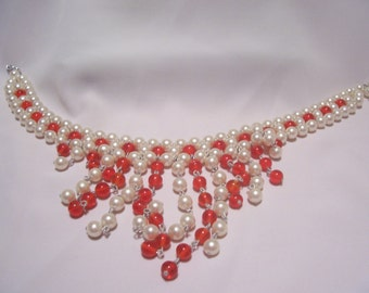 Faux Pearl and Red Glass Bead Dangle Bib Necklace
