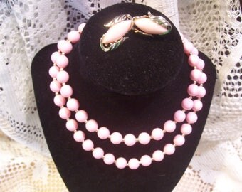 Pink Single Strand Necklace and Earring Set