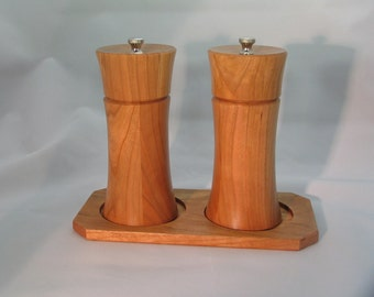 Salt and Pepper Mills with Base (Cherry)