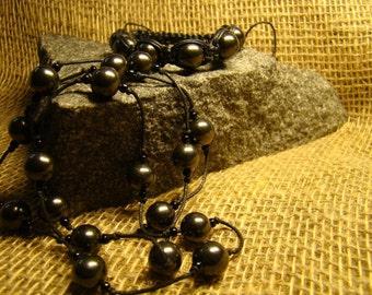 """Shungite set necklace and bracelet """"Shambala"""" from Karelia."""