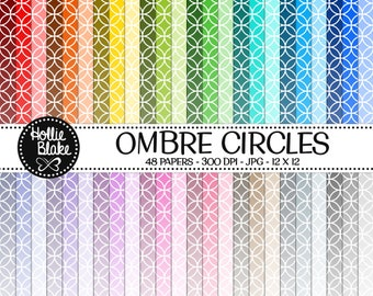 Buy 1 Get 1 Free!! 48 Ombre Circles Digital Paper • Rainbow Digital Paper • Commercial Use • Instant Download • #CIRCLES-102-2-O