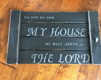 Pallet and reclaimed wood serving tray with Bible scripture