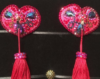 Heart's Content Crystal Rhinestone Burlesque Pasties with Chainette Tassels