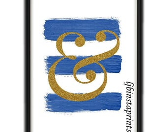 Blue Ampersand Wall Print, Blue Brush Stroke Print, Blue Wall Art, Instant Download Wall Print, Ampersand Gallery Wall Print, 8x10 Print