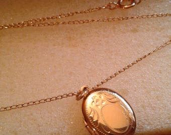 Vintage Gold locket and chain. Bonus lose gold ladybug earing