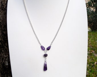 "Amethyst and Silver ""Y"" Necklace"