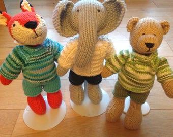 Hand knitted fox elephant teddy bear