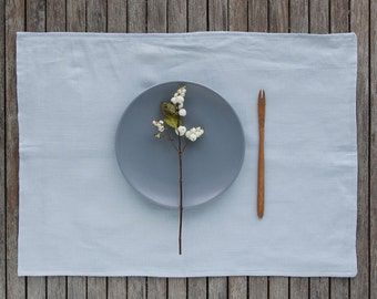Blue Linen Placemats Set of 2, Linen Placemat, Softened Linen Placemats, Natural Flax Placemats, Softened Linen Tablemats, Dinning Placemats