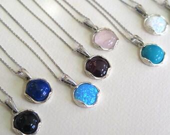 silver Opal necklace - Opal necklace - Opal Silver necklace - Blue Opal necklace - silver necklace - Opal Pendant - Blue Opal Pendant